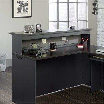 Sauder Via Reception Desk in Bourbon Oak