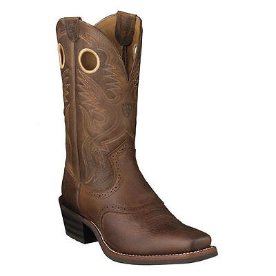 MENS ARIAT COWBOY WESTERN BOOTS! 10002227-HERITAGE ROUGHSTOCK-BROWN OILED ROWDY!