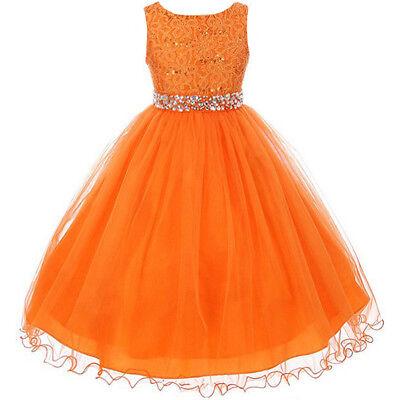 Orange Glitters Flower Girl Dress Rhinestones Belt Double Layer Wire Tulle Skirt](Tulle Skirt Flower Girl Dress)