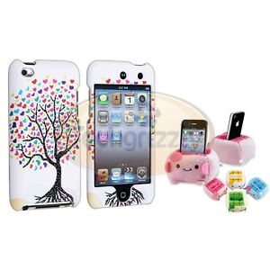 White Love Tree Rubber Hard Cover Case+Cute Plush Holder For iPod Touch 4 4G