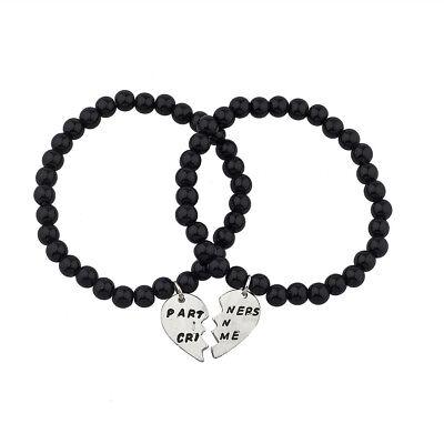 Lux Black Beaded Partners In Crime BFF Best Friends Matching Bracelet - Best Friends Bracelet