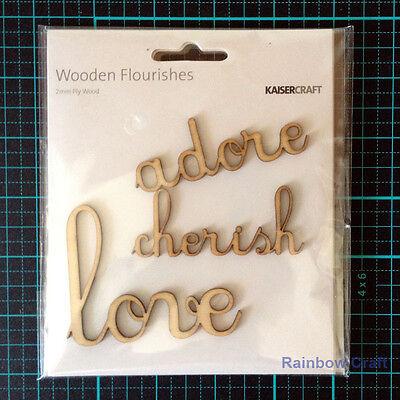 Kaisercraft Wooden Embellishments flourish Pack 18 wording / patterns U select - Love, adore, cherish