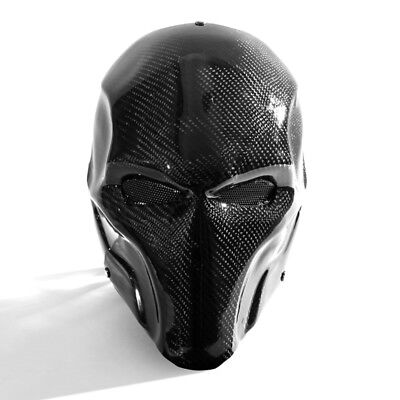 Halloween Carbon Fiber Full Face Mask Prom High-End Black Party Dance Villain (High End Halloween Masks)