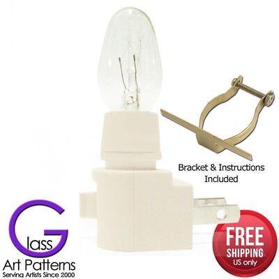 Night Light Kit Supply Bulb Brass Clip 6-12 Pack White Switch Fuse Stained Glass Brass Glass Night Light