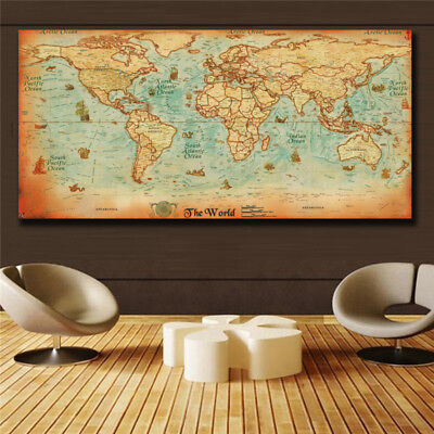- The old World Map large Vintage Style Retro Paper Poster Home decor  (31x63)