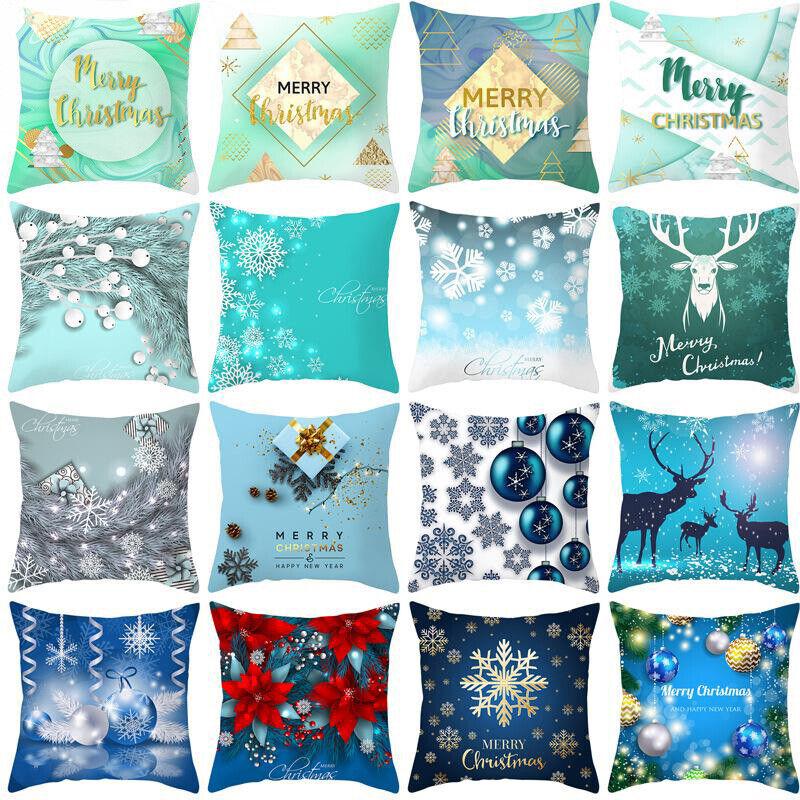 blue christmas cotton linen pillows case throw
