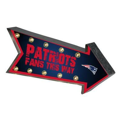 New England Patriots Arrow Marquee Sign - Light Up - Room Bar Decor NEW 18