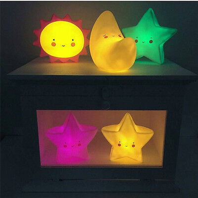 Lovely Led Night Light Moon Star Sun Face Bedroom Lamp Kids Toy Gift Room Decor