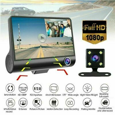 "4""1080P Car DVR Video Dual Lens Dash Front and G-sensor Rear Recorder Cam Camera"