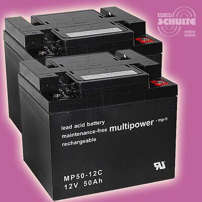 Akku-Satz Batterie für Seniorenmobil E-Mobil Scooter ST4D, 2 x 12V 50Ah Blei AGM