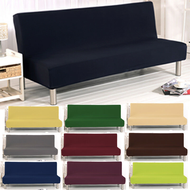 Fashion Armless Seater Sofa Cover Solid Chair Protector Fold