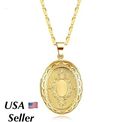 18k Gold Plated Oval Round Photo Picture Locket Pendant Necklace 18