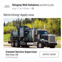 ** $1000 SIGN ON BONUS*Oilfield Remedial Cement Sups & Operators