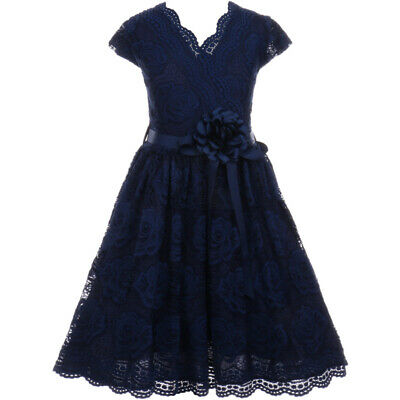NAVY BLUE Flower Girl Dress Birthday Wedding Recital Gown Homecoming Dance Party