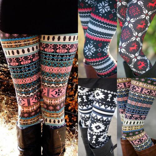 Leggings - USA Warm Womens Winter Christmas Snowflake Knitted Leggings XMAS Stockings Pants