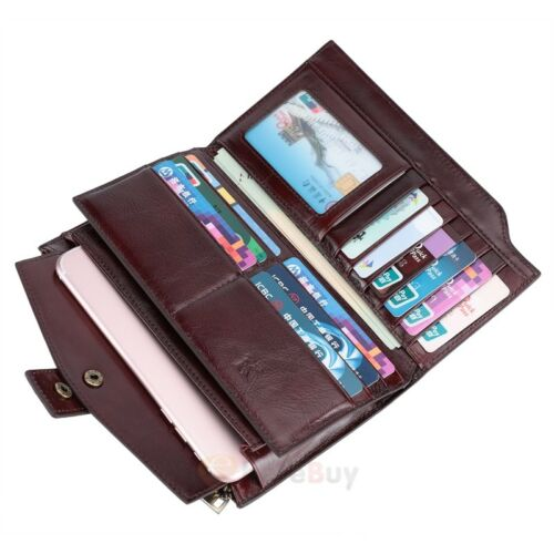 Men/'s Vintage Genuine Leather Long Bifold Wallet Money Card Holder Clutch Purse