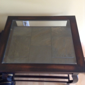 2 Glass top/slate end tables