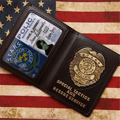 RESIDENT EVIL S.T.A.R.S. Cool LEON Metal Police Badge ID Card Wallet Holder