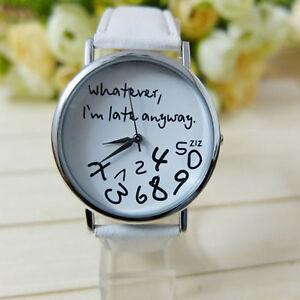 Fashion-Girl-Women-Letter-Leather-Quartz-Watch-Wrist-Watch-Xmas-Gift-NICE