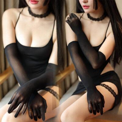 Sexy Frauen Lange Fünf Finger Handschuhe Ellenbogen Nahtlose Tänzerin - Lange Finger Handschuhe Kostüm
