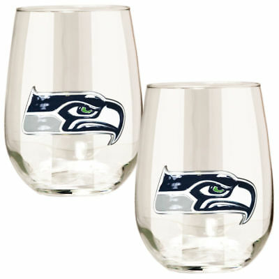 Seahawks Wine Glasses (Seattle Seahawks NFL Stemless Wine Glass Set of 2 High Quality Logo 15 oz)