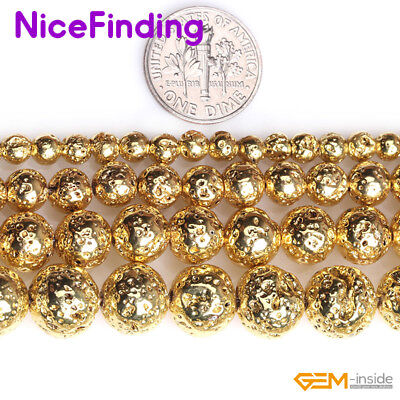 Round Golden Metallic Coated Volcanic Lava Rock Stone Beads Jewelry Making 15