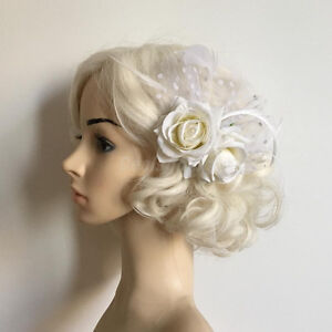 Ivory Floral Rose Feather Fascinator Bridal Hair Accessory - New
