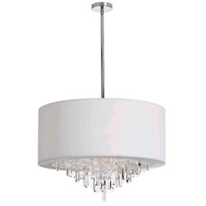 Decolite modern chandelier with crystal accents and white drum