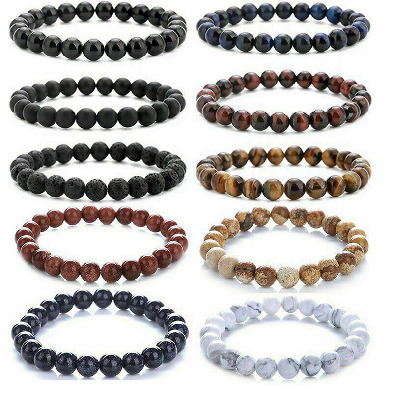 Men Women 8mm Lava Rock Chakra Beads Elastic Natural Stone Agate Bracelet Bracelets