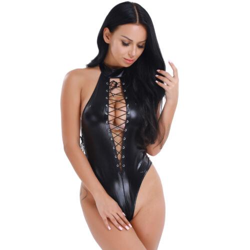 Womens PVC Leather Lingerie Bodysuit Jumpsuit Catsuit ...