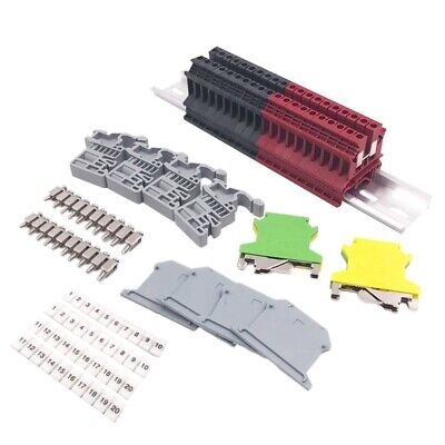DIN Rail Terminal Blocks Kit Terminal+Ground Blocks+Aluminum Rail+End Brack U7V4 Din Rail Bracket Kit