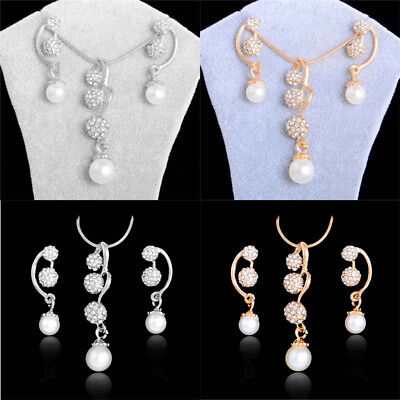 Fashion Elegant Jewelry Set For Women 18K Gold Plated 3 Beads Crystal Pearl 18k Pearl Jewelry Set