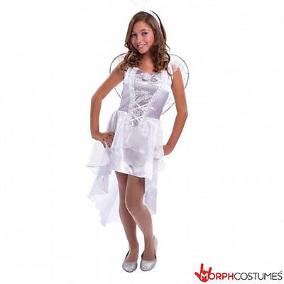 Girls TEEN White Angel Fancy Dress Costume incl Wings & Halo Tween - Teen Halo Kostüm