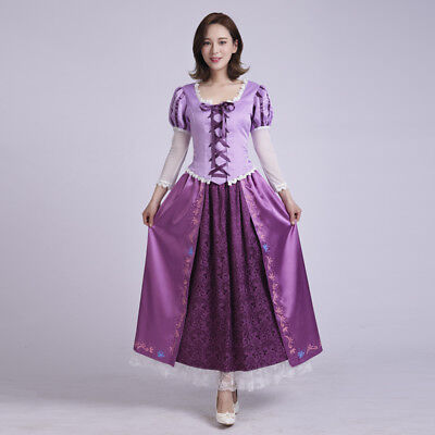 Hot Adult Princess Rapunzel Dress Tangled Fairytale Halloween Cosplay Costume