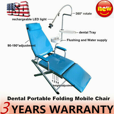 Portable Mobile Dental Folding Chair Led Light Tray Water Supply With Headrest