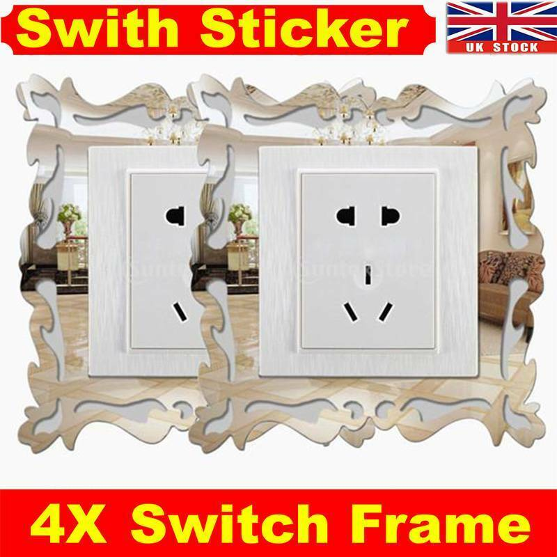 Home Decoration - 4pcs Silver Mirror Flower Light Switch Surround Wall Sticker Cover Frame Decor R