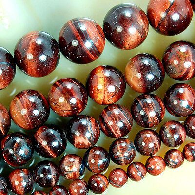 Tiger Eye Gemstone Beads - Red Tiger Eye Round Gemstone Beads 15