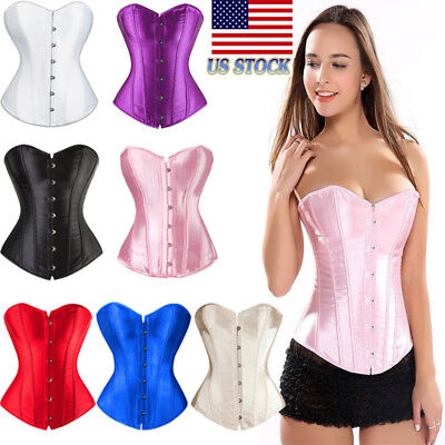 Strap Sexy Women Boned Satin Corset Lace Up Bustier Dress Top Shaper Overbust US