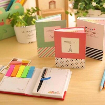 1pc Cute Sticky Notebook With Pen Memo Pad Bookmark Paper Sticker Notepad Useful