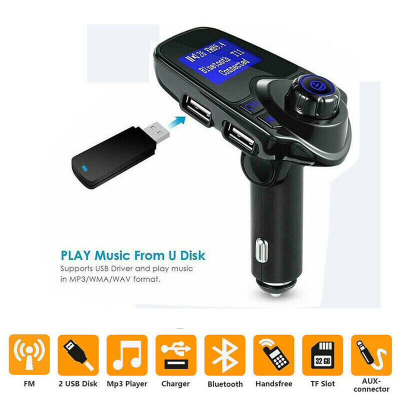 LCD Wireless Bluetooth Car Kit FM Transmitter Handsfree MP3 Player USB Charger