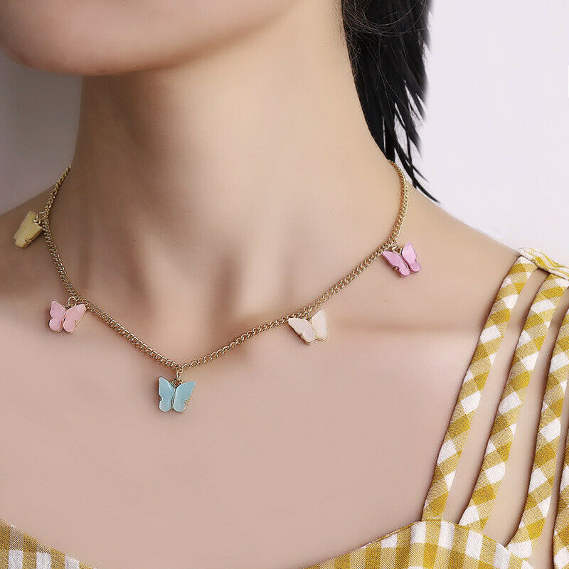 Fashion Butterfly Acrylic Sequins Pendant Necklace Clavicle Women Jewelry 10pcs