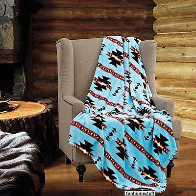 TURQUOISE Native Luxury Soft Light Weight Fleece Cashmere Throw Blanket 60