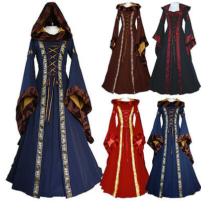 Women Halloween Costume Wench Victorian Renaissance Dress Witch Medieval Cosp - Ej Halloween