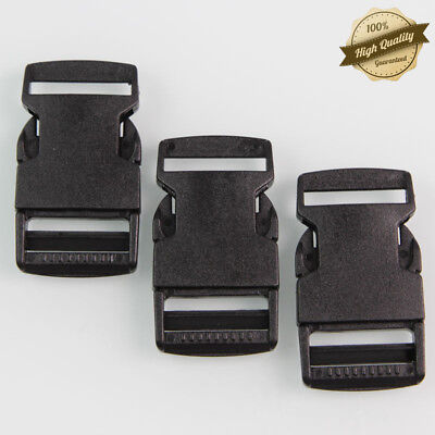 Release Buckle - Lot 10 Pieces 1 inch Plastic Black Strap Webbing Side Release Buckle Backpack