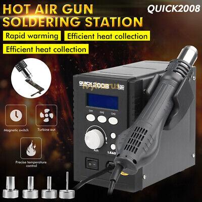 New 110v Quick 2008 Portable Hot Air Gun Smd Bga Rework Station Soldering Us