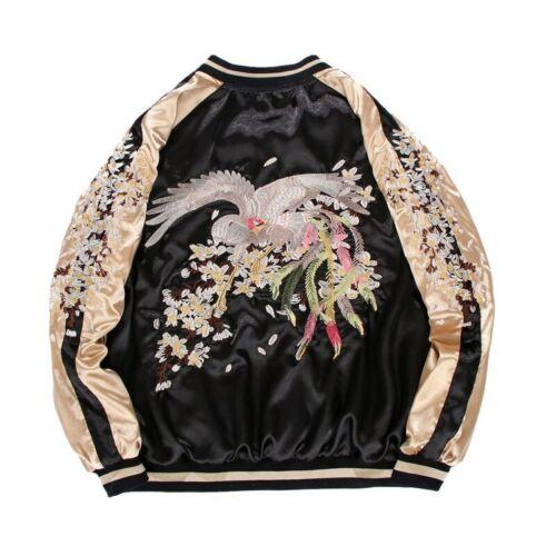 Satin Embroidered Bomber Jacket Women Baseball Coat Floral Embroidery Short Slim