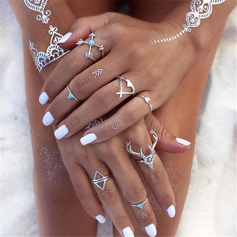 7Pcs/Set Women Stack Plain Above Knuckle Ring Boho Silver Mi