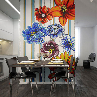 Glass Mosaic Puzzles Big Colorful Flowers Patterns Wall Deco Art Mosaic Tiles