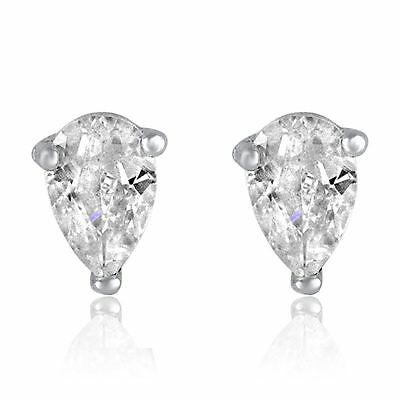 Silver Pear Cut White CZ Post Stud Earrings Cubic Zirconia Tear Solitaire Rhodiu