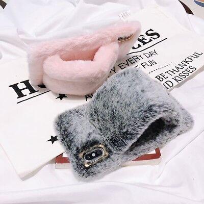 For iPhone XS Max XR 7 Plus 6S Cute Warm Rabbit Fur Plush Bracelet Phone (Rabbit Iphone Case)